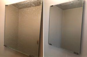 熊本市中央区E不動産1Kハウスクリーニング浴室内鏡のビフォーアフター写真