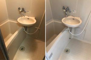 熊本市中央区E不動産1Kハウスクリーニング浴室のビフォーアフター写真