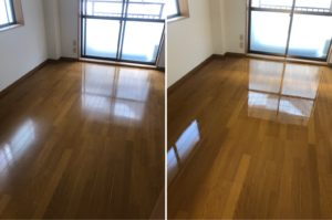 熊本市中央区E不動産1Kハウスクリーニングの床のビフォーアフター写真