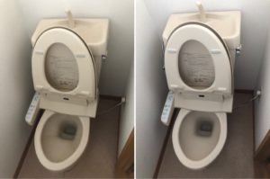 熊本市中央区E不動産1Kハウスクリーニングのトイレのビフォーアフター写真
