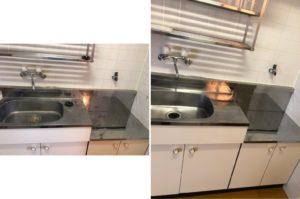 熊本市中央区E不動産1Kハウスクリーニングキッチンのビフォーアフター写真