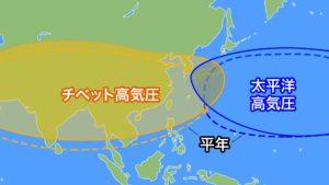 チベット高気圧と太平洋高気圧の写真